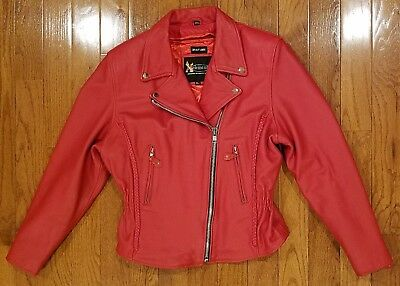 57e04469be0 XELEMENT WOMENS RED LEATHER MOTORCYCLE JACKET ZIP-OUT LINING SIZE XL Preown  NICE • 34.99
