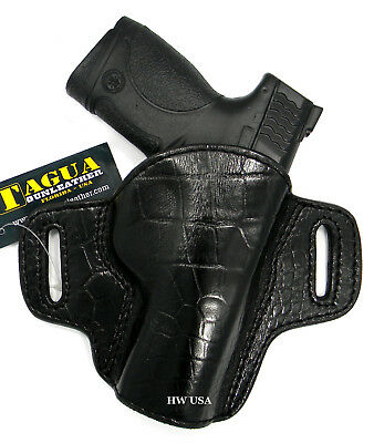 $22 • Buy TAGUA PREMIUM OWB Open Top Belt Holster CROCO Black Leather For S&W M&P 9, 4