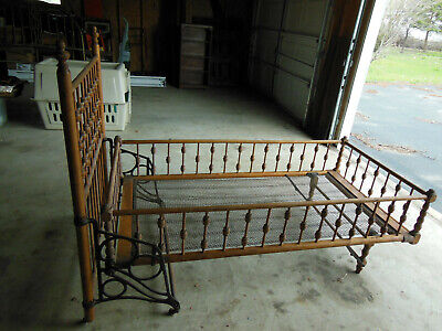 $325 • Buy Antique Early Wooden Fold Up Youth Child Bed Spindle Style Cast Iron Rails Nice!