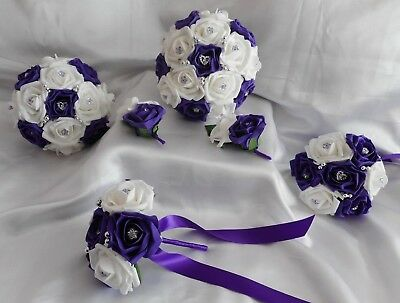 £25 • Buy Wedding Flowers Cadbury Purple & White / Ivory Teardrop Bouquet Posy Buttonholes