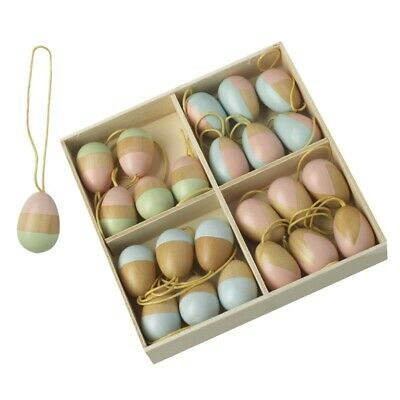24 Wooden Pastel Hanging Easter Egg Twig Tree Decorations - Easter Decorations • 13.25£