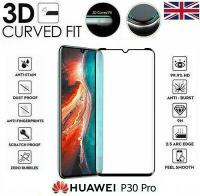 For Huawei P30 Pro Genuine Full 3D Tempered Glass 9H Screen Protector Cover • 3.95£