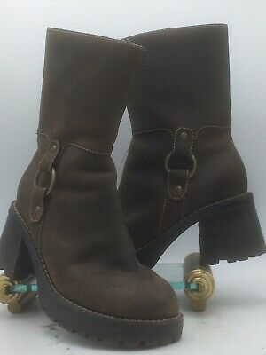 cc010ab8a4a 90s Vtg Skechers Sz 7 Chunky Shoes Ankle Boots Platform Block High Heels  Brown • 58.00