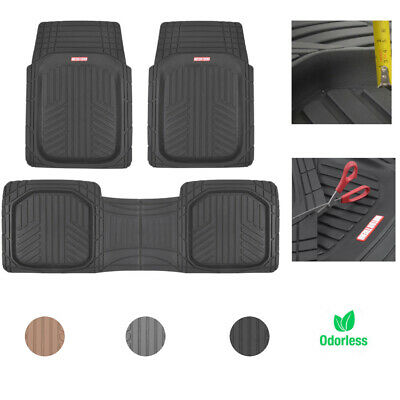 $37.99 • Buy Car Rubber Floor Mats For All Weather Protection Semi Custom Fit 3 Pieces Set