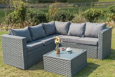 View Details Yakoe 5 Seater Rattan Corner Sofa Set Outdoor Garden Furniture Grey With Cover • 369.99£