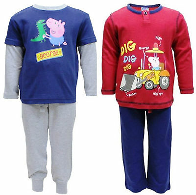 George Pig:red/navy Or Navy/grey Pyjama,2,4,6,8yr,new With Tags • 3.99£