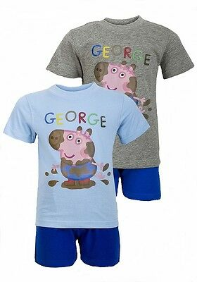 George Pig:grey Or  Blue Muddy Puddle Short Pyjama,2,3,4,5,6yr,new With Tags • 6.50£