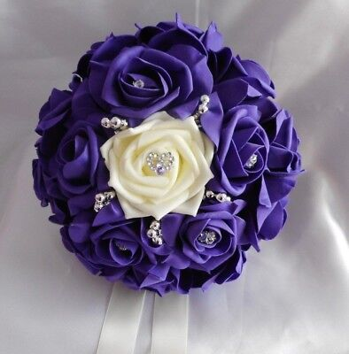 £22 • Buy Wedding Flowers.Cadbury Purple & Ivory Rose Bride Bridesmaid Bouquet Posy