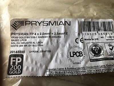 Prysmian FP200 Gold Fire Protected Cable 4 X 2.5mm X 100m White • 75£