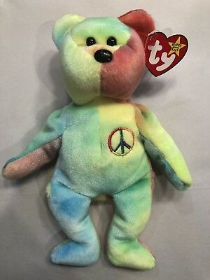 0ac069b53af Retired TY Beanie Baby Peace Bear 1996 W  Display Case - MINT CONDITION •  19.99