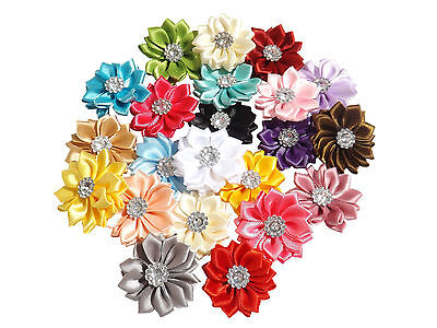 New 5 X Coloured Satin Ribbon Flowers With Crystal Centre Appliques Sew On Craft • 2.99£