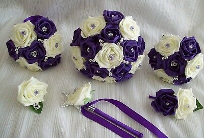 £74 • Buy Wedding Flowers Cadbury Purple & Ivory Rose Bouquet Posy Wand PACKAGE 12 Items