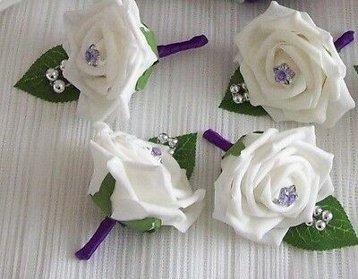 £9.50 • Buy Wedding Flowers  4 X Cadbury Purple & White Rose Buttonholes / Corsage.