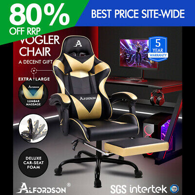 AU199.90 • Buy ALFORDSON Gaming Chair Office Executive Racing Footrest Seat PU Leather Gold