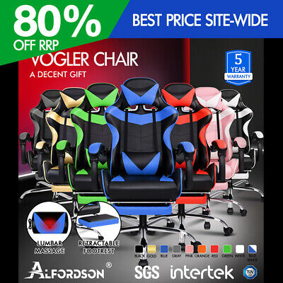 AU149.90 • Buy ALFORDSON Gaming Chair Office Executive Racing Footrest Seat PU Leather Multiple