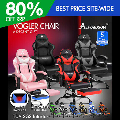 AU179.90 • Buy ALFORDSON Gaming Chair Office Executive Racing Footrest Seat PU Leather Multiple