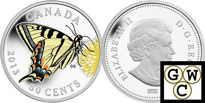 2013 Tiger Swallowtail Butterfly Colorized 50-Cent Coin Silver-Plated (13206) • 26.48$