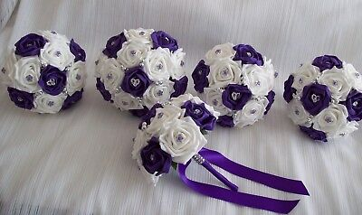 £70 • Buy Wedding Flowers Cadbury Purple & White Rose Bouquet Posy Package *5 Bouquets*