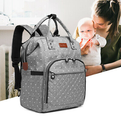 Mummy Changing Bag Baby Diaper Nappy Backpack Multi-Function Bag Polka Dot Grey • 15.99£