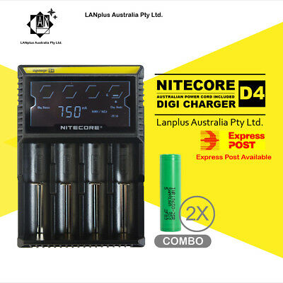 AU53.90 • Buy Nitecor D4 Digi Battery Charger + 2X Samsung 25R 3.7v Li-ion Rechargeable Batte
