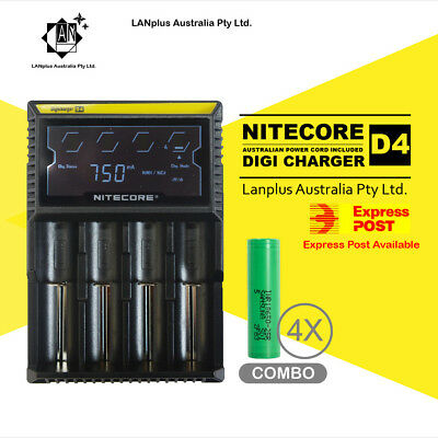 AU74.90 • Buy Nitecor D4 Digi Battery Charger + 4X Samsung 25R 3.7v Li-ion Rechargeable Batte