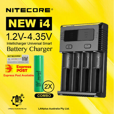 AU49.50 • Buy Nitecore New I4 Battery Charger + 2X Samsung 25R 2500mAh Li-ion Rechargeable Bat