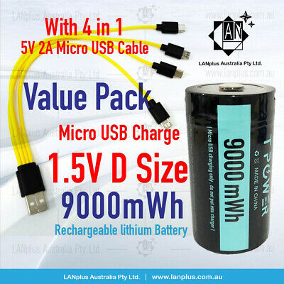 AU68.50 • Buy 1.5V 9000mWh D Size Rechargeable Lithium Battery Micro USB Port W/ 5v 2A Cable