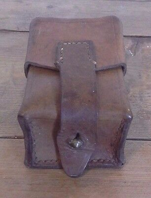 Vintage Leather Ammo Pouch Cartridge Holder, Antique, Military • 17.99£