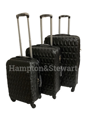 4 Wheel Spinner Black Suitcase Hard Shell Luggage Trolley Case Sizes 20  24  28  • 69.99£