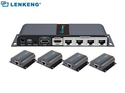 $185 • Buy Up To 40m, 1:4 1-In/4-Out HDMI Extender Splitter Over Ethernet Cat6/Cat7 W/IR