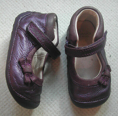 Clarks Girls First Cruiser Shoes Purple Leather +bow Adjust Strap UK 4 F EU 20 M • 13.99£