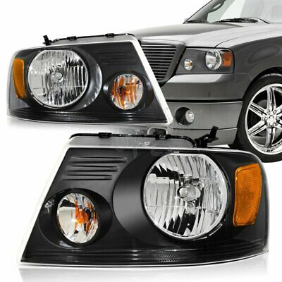 $77.50 • Buy For 2004-2008 Ford F-150 Black Housing Clear Lens Headlights W/ Amber Reflector