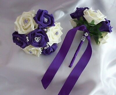 £18 • Buy Wedding Flowers 2x Cadbury Purple & Ivory Bridesmaid Rose Wedding Bouquets Posy