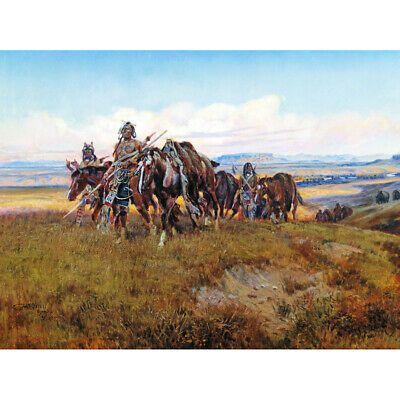 Russell In Enemys Country Wild West Native American Painting Canvas Print Poster • 12.50£