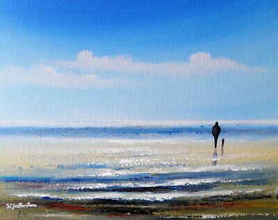 SEASCAPE CANVAS PAINTING Original Sarah Featherstone, Beach Walk, Sea, Dog, Sand • 24.95£