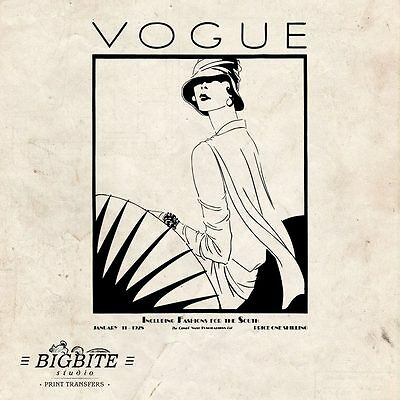 WATER DECAL: Art Deco Vintage VOGUE Magazine Cover Furniture Print Transfer #054 • 6.50£