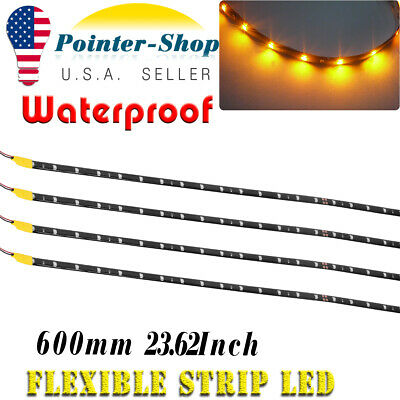 $7.04 • Buy 4PCS 24 Inch Waterproof 12V Amber LED Light Strip For Trailer ATV Car Motor Boat