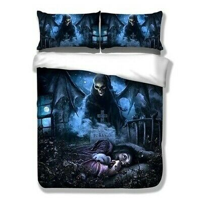 Skull Duvet Quilt Cover Grim Reaper Bedding Set Pillow Cases Single Double King • 26.99£