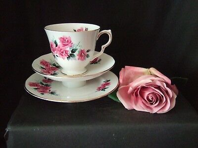 Vintage Royal Osborne Bone China Trio Tea Cup Saucer & Plate Pretty Pink Roses • 4.99£