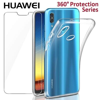 Front And Back Clear Tempered Glass Screen Protector Gel Case For Huawei Y7 2018 • 2.99£