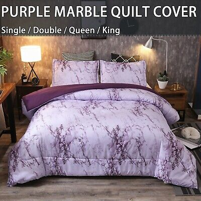 AU33.76 • Buy Purple Marble Floral Doona/Duvet/Quilt Cover Set Single Double Queen King Bed