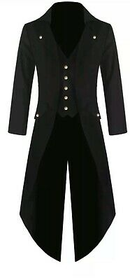 Men's Black Handmade Steampunk Tailcoat Jacket Gothic Victorian Coat S-6XL • 14.99£