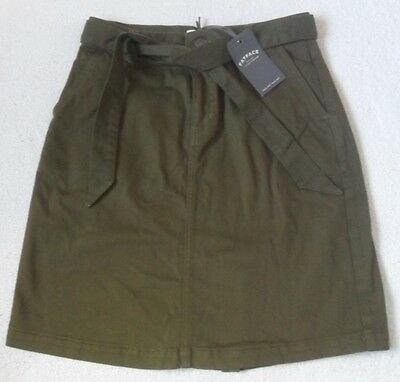 £25.99 • Buy Ex Fat Face Tilly Seaweed Green Twill Cotton Stretch Belted Chino Skirt  8  16