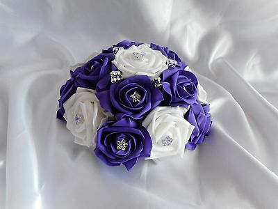£12 • Buy Wedding Flowers Cadbury Purple & White Wedding Table Flower Centrepiece Display