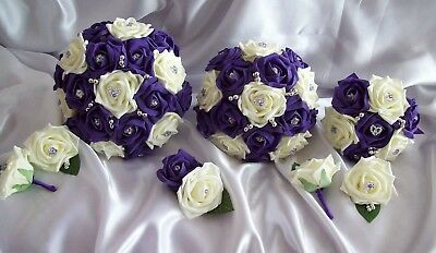 £20 • Buy Wedding Flowers Cadbury Purple & Ivory Rose Bouquet Teardrop Posy Buttonholes