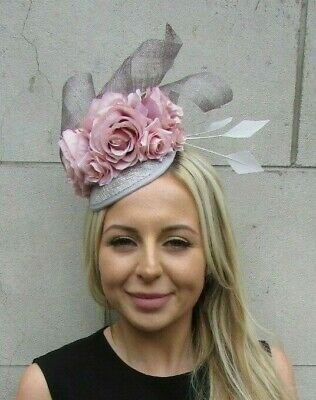 Blush Light Nude Pink Grey Rose Flower Feather Hat Fascinator Races Hair 7208 • 31.95£
