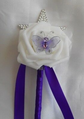 £5 • Buy Wedding Flowers Cadbury Purple & White Butterfly Rose 8  Flower Girl Wand Posy