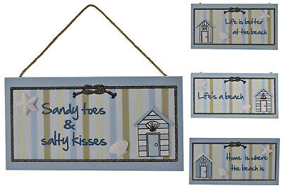 Beach Themed Wooden Hanging Signs Sandy Toes Salty Kisses Better At Beach Home  • 3.75£