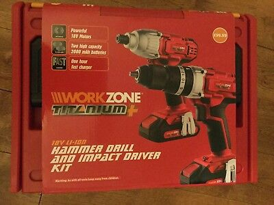 View Details New Workzone 18v Li-ion Hammer Drill +Impact Driver Kit  • 77.00£
