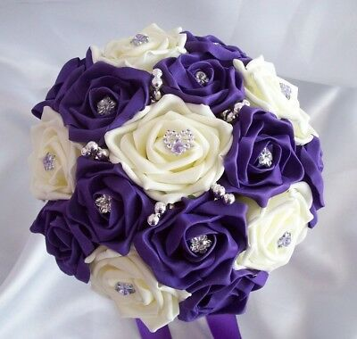 £22 • Buy Wedding Flowers Cadbury Purple & Ivory Rose Wedding Bouquet Posy